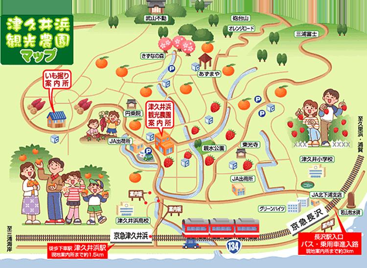 津久井浜観光農園マップ